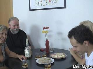 Old couple threesome with teen