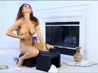 Hottie rides Fucking Machine until orgasm